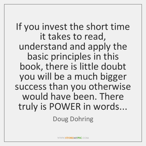 If you invest the short time it takes to read, understand and ...