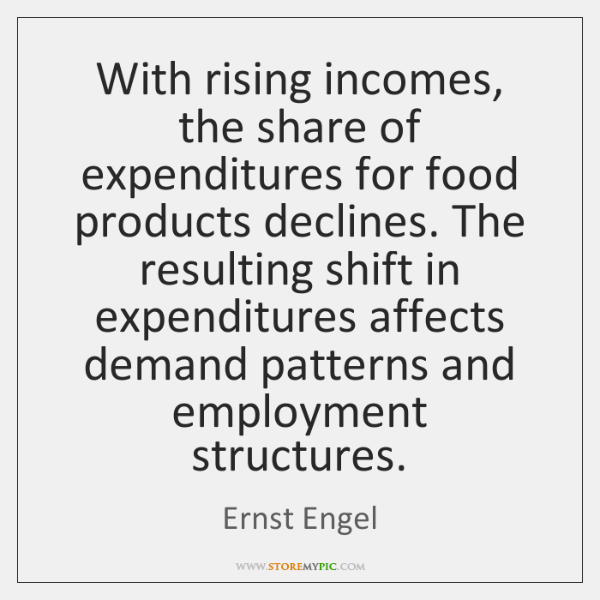 With rising incomes, the share of expenditures for food products declines. The ...