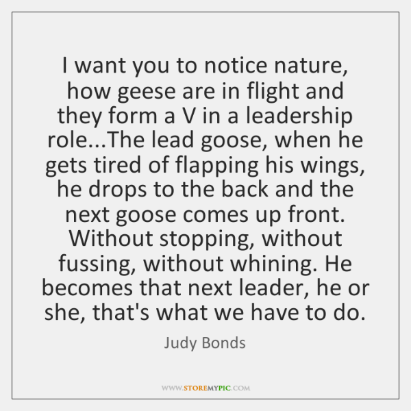 I want you to notice nature, how geese are in flight and ...