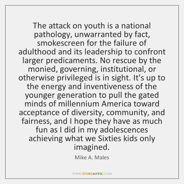 The attack on youth is a national pathology, unwarranted by fact, smokescreen ...
