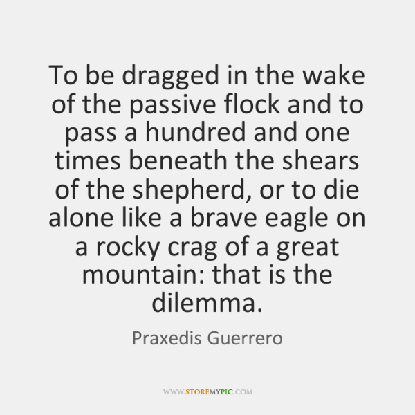 To be dragged in the wake of the passive flock and to ...