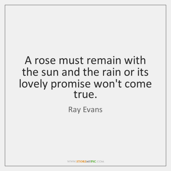 A rose must remain with the sun and the rain or its ...