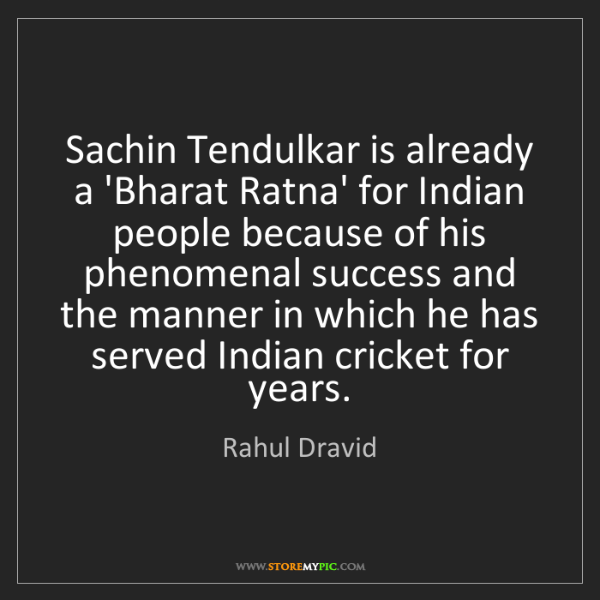 Rahul Dravid: Sachin Tendulkar is already a 'Bharat Ratna' for Indian...