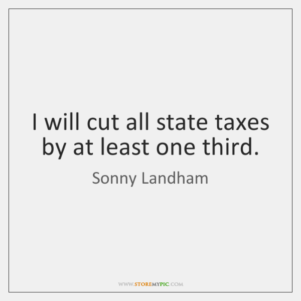 I will cut all state taxes by at least one third.