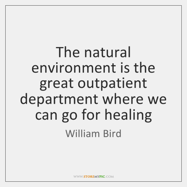 The natural environment is the great outpatient department where we can go ...
