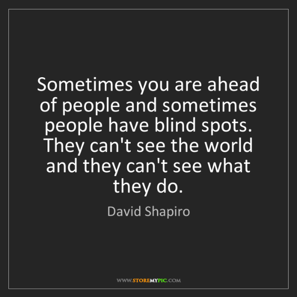 David Shapiro: Sometimes you are ahead of people and sometimes people...