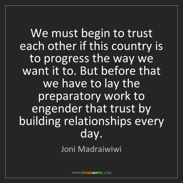 Joni Madraiwiwi: We must begin to trust each other if this country is...