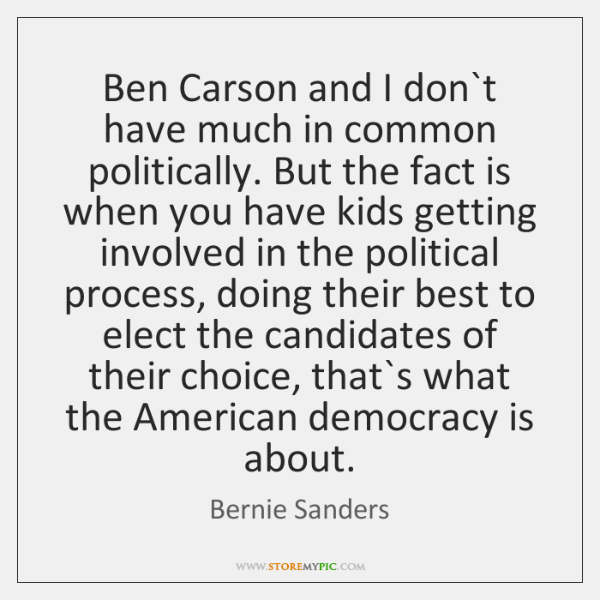 Ben Carson and I don`t have much in common politically. But ...