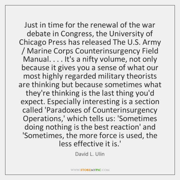 Just in time for the renewal of the war debate in Congress, ...