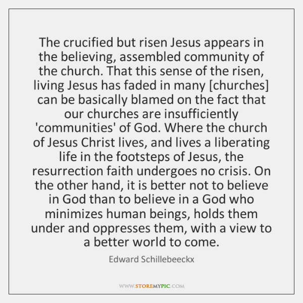 The crucified but risen Jesus appears in the believing, assembled community of ...