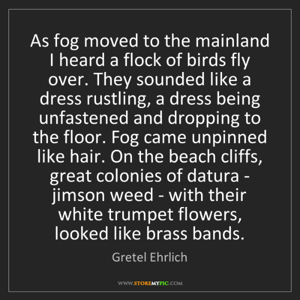 Gretel Ehrlich: As fog moved to the mainland I heard a flock of birds...