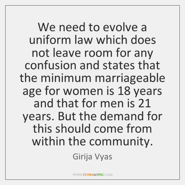 We need to evolve a uniform law which does not leave room ...