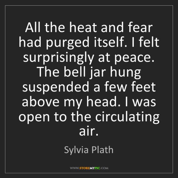 Sylvia Plath: All the heat and fear had purged itself. I felt surprisingly...