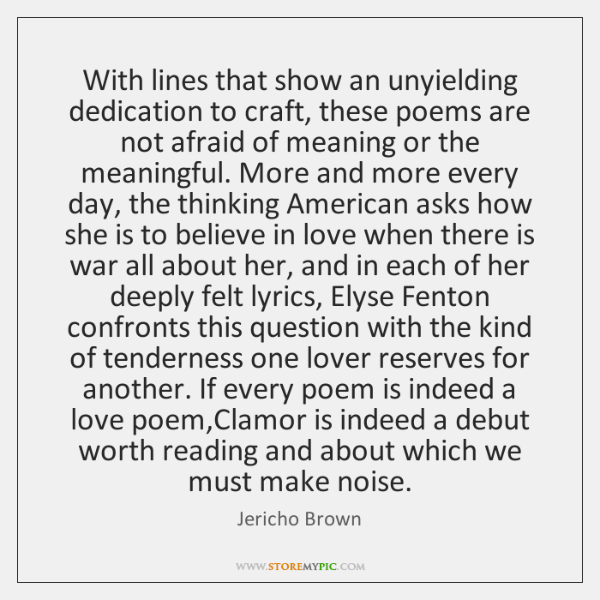 With lines that show an unyielding dedication to craft, these poems are ...