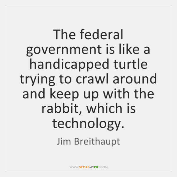 The federal government is like a handicapped turtle trying to crawl around ...