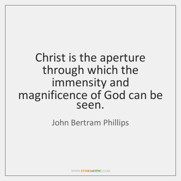 Christ is the aperture through which the immensity and magnificence of God ...