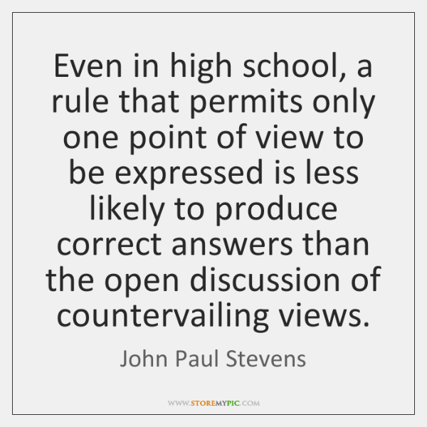 Even in high school, a rule that permits only one point of ...