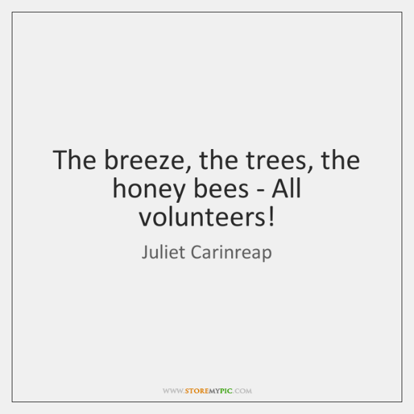The breeze, the trees, the honey bees - All volunteers!
