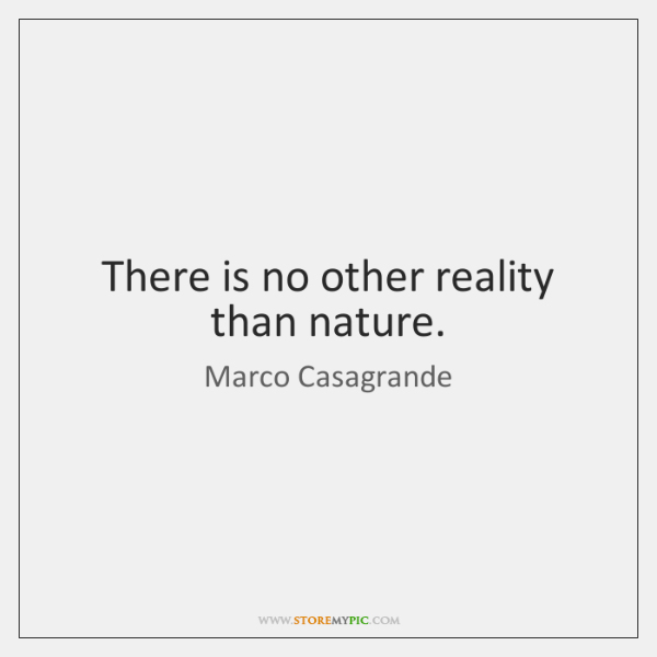 There is no other reality than nature.