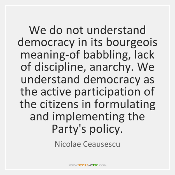 We do not understand democracy in its bourgeois meaning-of babbling, lack of ...