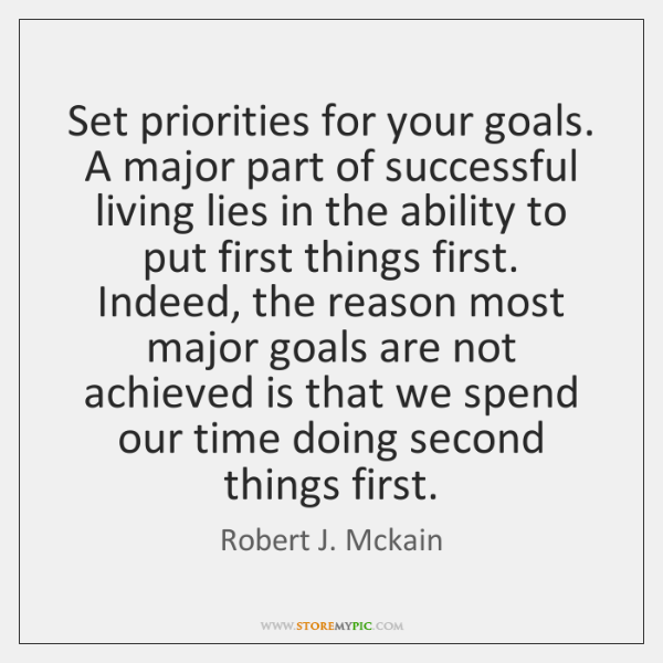 Set priorities for your goals. A major part of successful living lies ...