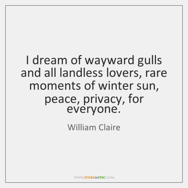 I dream of wayward gulls and all landless lovers, rare moments of ...