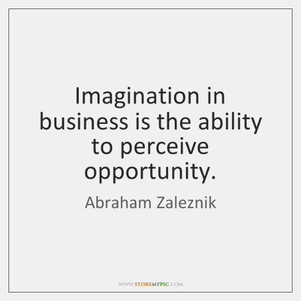 Imagination in business is the ability to perceive opportunity.
