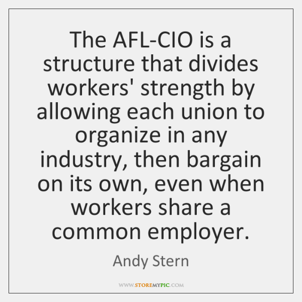 The AFL-CIO is a structure that divides workers' strength by allowing each ...
