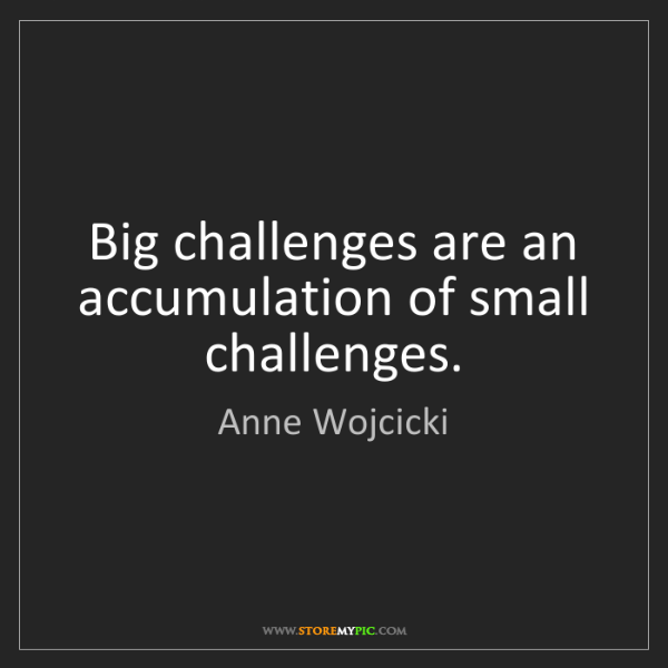 Anne Wojcicki: Big challenges are an accumulation of small challenges.