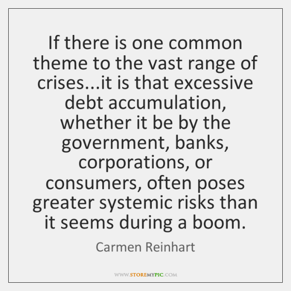 If there is one common theme to the vast range of crises......