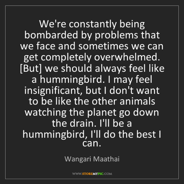 Wangari Maathai: We're constantly being bombarded by problems that we...