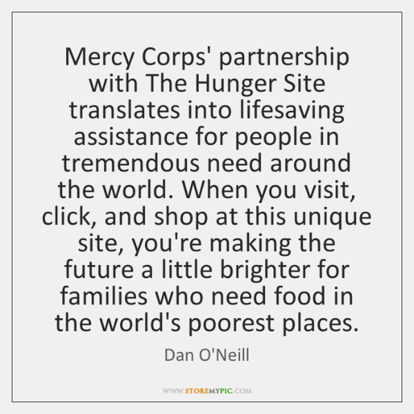 Mercy Corps' partnership with The Hunger Site translates into lifesaving assistance for ...
