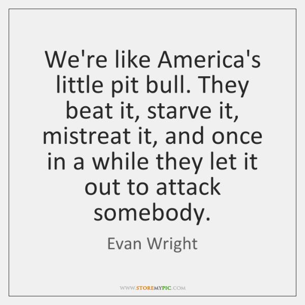 We're like America's little pit bull. They beat it, starve it, mistreat ...