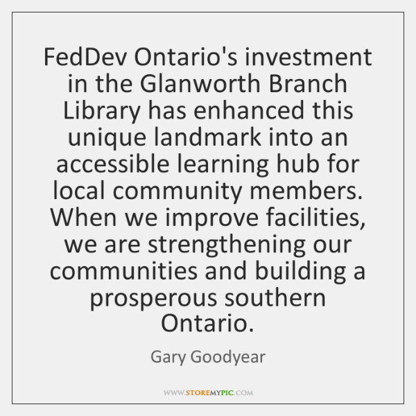 FedDev Ontario's investment in the Glanworth Branch Library has enhanced this unique ...