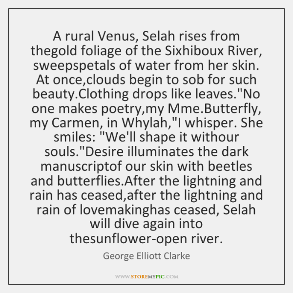 A rural Venus, Selah rises from thegold foliage of the Sixhiboux River, ...