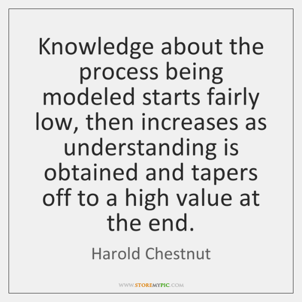 Knowledge about the process being modeled starts fairly low, then increases as ...