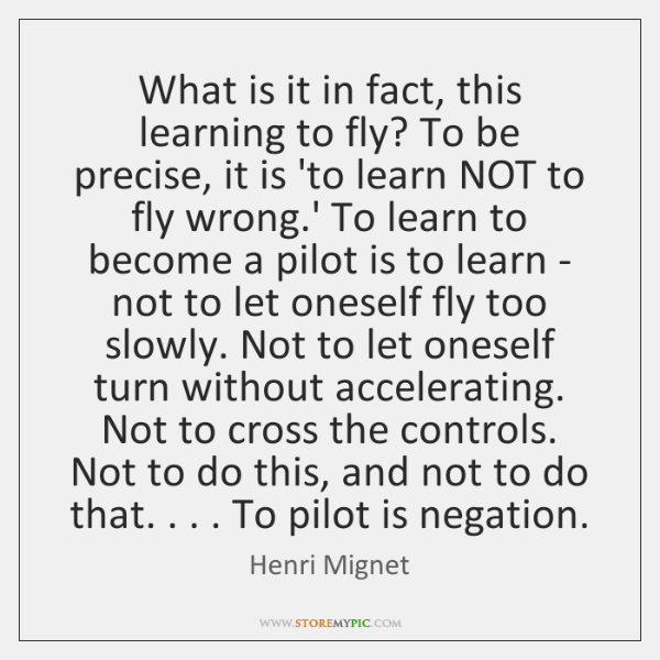 What is it in fact, this learning to fly? To be precise, ...