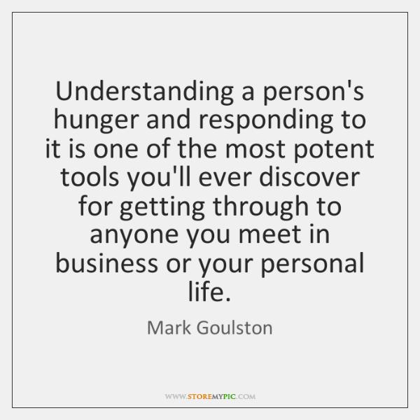 Understanding a person's hunger and responding to it is one of the ...