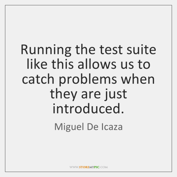 Running the test suite like this allows us to catch problems when ...