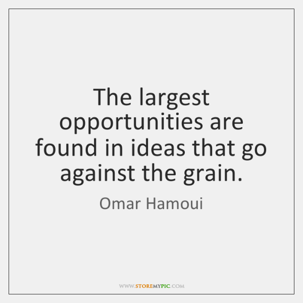 The largest opportunities are found in ideas that go against the grain.