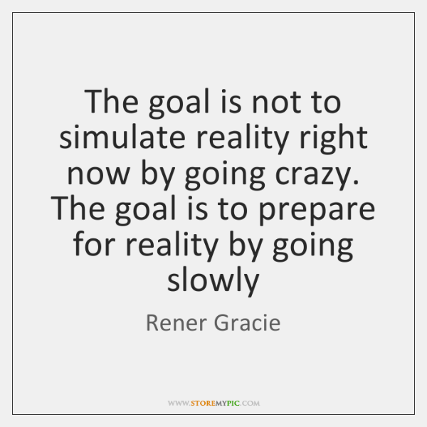 The goal is not to simulate reality right now by going crazy. ...