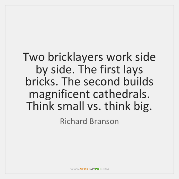 Two bricklayers work side by side. The first lays bricks. The second ...