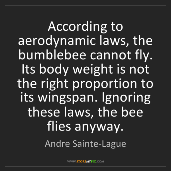 Andre Sainte-Lague: According to aerodynamic laws, the bumblebee cannot fly....