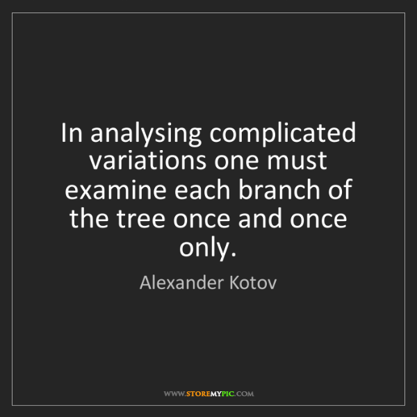 Alexander Kotov: In analysing complicated variations one must examine...