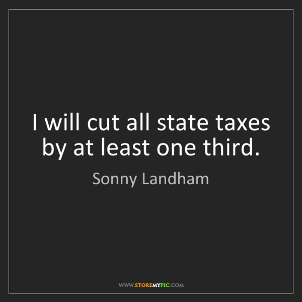 Sonny Landham: I will cut all state taxes by at least one third.