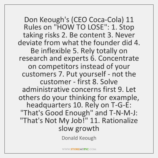 Don Keough's (CEO Coca-Cola) 11 Rules on