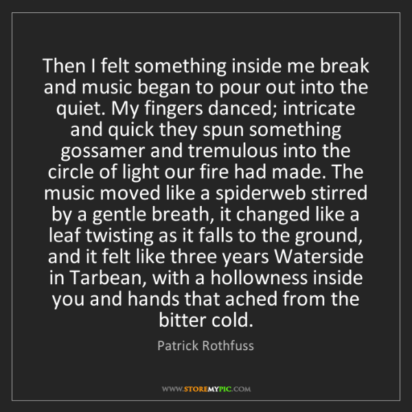 Patrick Rothfuss: Then I felt something inside me break and music began...