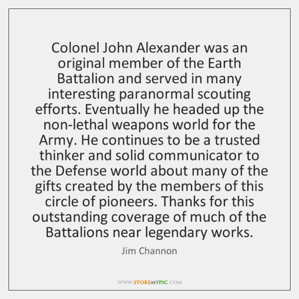 Colonel John Alexander was an original member of the Earth Battalion and ...