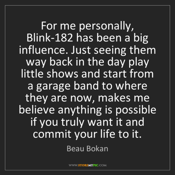 Beau Bokan: For me personally, Blink-182 has been a big influence....