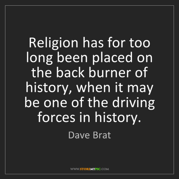 Dave Brat: Religion has for too long been placed on the back burner...